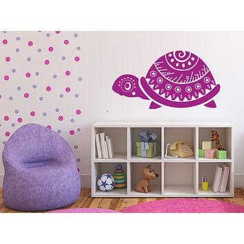 Vinyl Decal Vintage Animals Symbols Turtle with Ornament Wall Sticker (n1040)