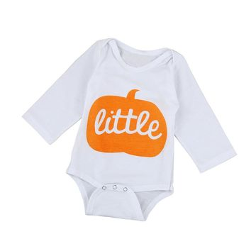Halloween Style Pumpkin Print Rompers Baby Boys Girls Long Sleeve Letter Romper Jumpsuit Newborn Cotton Clothes Outfits