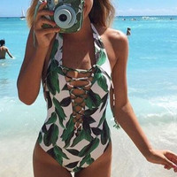 Green Leavy Lace Up One Piece Swimsuit