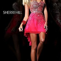 Short Strapless Cocktail Dress by Sherri Hill