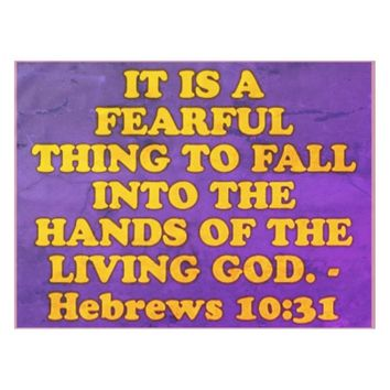 Bible verse from Hebrews 10:31. Tablecloth