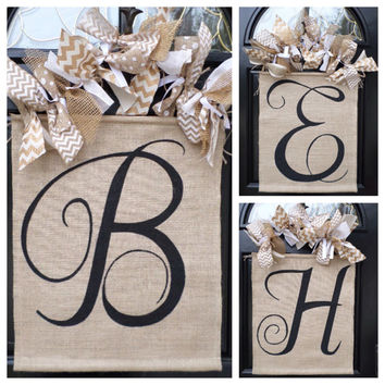 Monogram Chevron Bow Burlap Door Sign Ribbon Wreath Hand Painted Initial Name Wall Decor Art Spring Wreath Door Hanging Personalized Custom