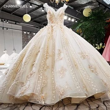 LS01474 gold champagne luxury grown V neck colorful 3D flowers keyhole back cap sleeves super luxury big long tail wedding dress