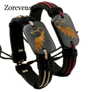 ZORCVENS Ethnic Style Vintage Lovers Bracelets Adjustable Leather Wrap ID Bracelet Best Friend Gender Symbol Bracelet For Couple