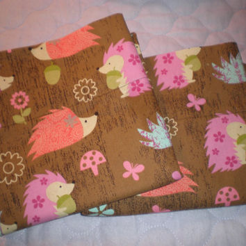 Hedgehog Cotton Pillowcase Set for Standard Size Bed Pillows Hoglets Hedgies