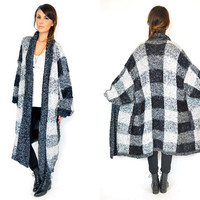 oversized CHECKERED bouclé cozy grandpa grunge minimalist MAXI CARDIGAN duster, one size fits all