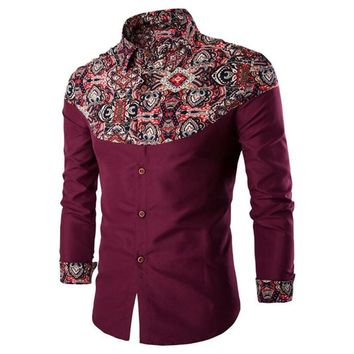 Men Retro Shirt Festival Clothing Long Sleeve Novelty Floral Print Red Blusa Patchwork Boys Club Shirts Europe Style Slim Tops