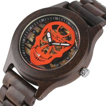 2017 Mechanical Wrist Watch Men Steampunk Hollow Skull Wooden Analog Luxury Automatical Skeleton Cool Wood Watches Man's Clock