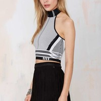 Nasty Gal Digital Rage Knit Halter Top - White