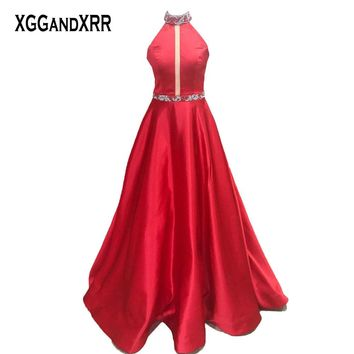 New Arrival Halter Off Shoulder Red A-Line Prom Dress Sweep Train Long Evening Dress Plus Size Formal Party Gowns