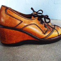 Vintage Wedge Oxfords Desert Sands Leather by SouthwestVintage