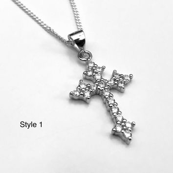 Cross Necklace, Heart Necklace, Crystal Heart Cross Necklace, Cross Pendant, Cross Jewelry, Christian Cross, Gifts for Her, Gifts for Him