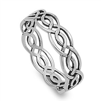 925 Sterling Silver Wicca Weave Celtic 5MM Ring