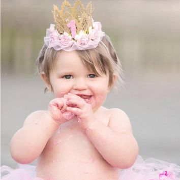 baby girl first birthday party cap Hat decoration Headband hairband Princess Queen Crown lace Hair Band Elastic Headwear P0.2