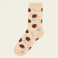 Coral Hedgehog Print Socks | New Look