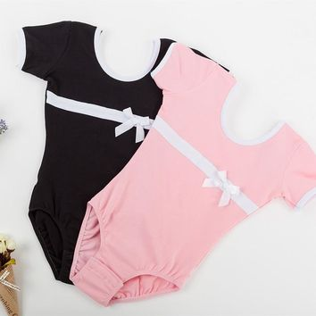 Cotton Short Sleeves Girls Leotards Ballet Dance Bodysuit Kids Gymnastics Dance Leotard pink black Ballerina Outfit