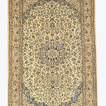 EORC Hand-knotted Wool & Silk Ivory Traditional Oriental Naiin Rug