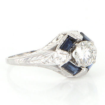 Antique Deco 18k White Gold Diamond Sapphire Engagement Ring Vintage Bridal