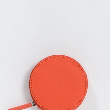 Warm Red Leather Circle Wallet by Baggu