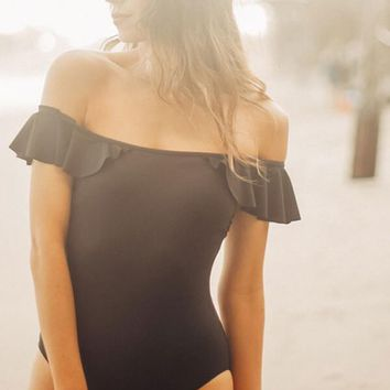 Black Ruffle Off The Shoulder One Piece Swimsuit