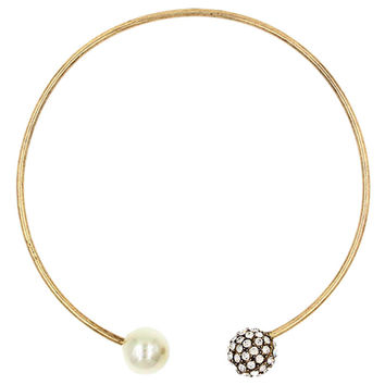 Faux Pearl and Diamond Stud Bangle Necklace