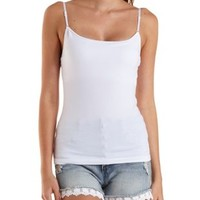 White Shelf Bra Cotton Cami by Charlotte Russe