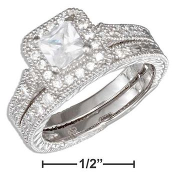 Sterling Silver Vintage Princess Cut Cubic Zirconia Wedding Ring Set