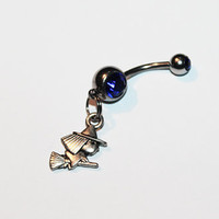 Tiny Witch Belly Button Ring, Navel Ring, Wiccan, Witch Jewelry, Halloween, Flying Broomstick Witch, Belly Piercing