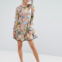 True Decadence Petite Embroidered Long Sleeve Mini Skater Dress at asos.com