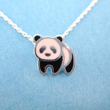 Panda Bear Shaped Enamel Charm Necklace in Silver | DOTOLY