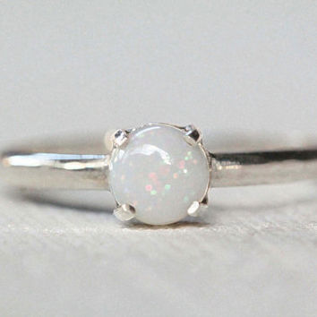 Limited Edition Natural White Opal Ring in solid 925 Sterling Silver, Boho Chic Ring, Bohemian Jewelry, Stack Rings, Natural Gemstone Ring
