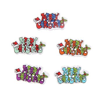 """50Pcs Mixed Letter """"Merry Christmas"""" Wood Buttons For Craft Scrapbooking Christmas Sewing Accessories Supplies DIY Decor"""