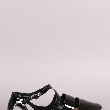 Qupid Patent Cutout Pointy Toe Ankle Strap Flat