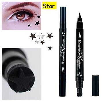 MIOBLET 1PC Super Double-headed Black Liquid Eyeliner Pencil Pen Waterproof Star Heart Moon Flower Shape Seal Stamp Tattoo Eyes Liner Makeup (Star Seal)
