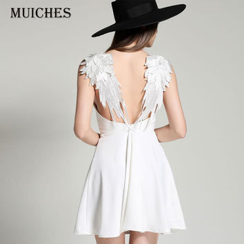 2016  Novelty Sexy backless Spaghetti Strap V-neck lace white angel wings beach dress women summer Dress sleeveless party dress