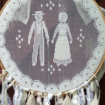 Handmade Country Lace Dreamcatcher Wedding Decor set of 3