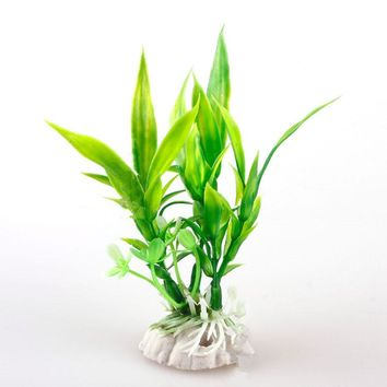 Green Bamboo Leaf Grass Artificial Plastic Water Plant Ornament Aquarium Fish Tank Decor