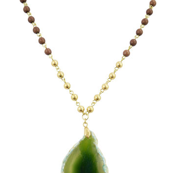 Magical Healing Semi-precious Stone Green agate Slab Slice Polished Wood Beaded Rosary Necklace