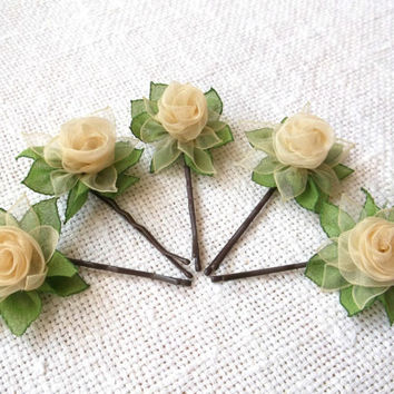 5 flower bobby pins Light yellow and green fabric roses Dark brown barretes