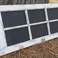 Distressed Wooden 6 Pane Window Chalkboard, Distressed Menu Board, Weathered Window Pane Table Seating Chart, Shabby Chic Chalkboard