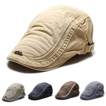 2018 Men Cotton Embroidery Painter Berets Caps Casual Outdoor Visor Forward Hat