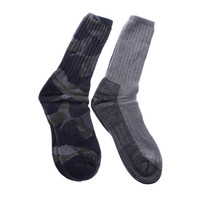 Timberland Mens Camo Cable Knit 2PK Crew Socks