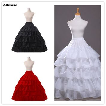 In Stock Four Hoops Five Ruffle Layers Petticoat White Black Red Bridal Crinoline For Ball Gown Quinceanera/Wedding/Prom Dresses