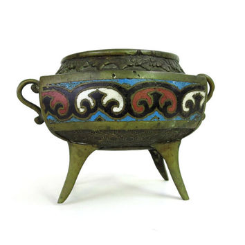 Vintage Mosaic Turquoise Inlaid Brass Jar, Vintage Brass Cloisonne Pot, Brass Footed Bowl, Feng Shui, Asian Folk Art