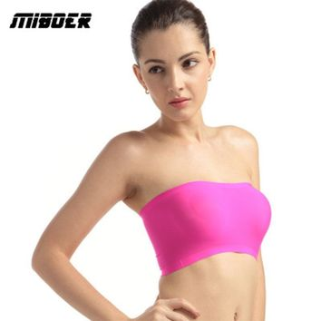 Women security Bra seamless undies ice silk one-piece lingerie chest pad brassiere underwear Female No-strap sexy ladies