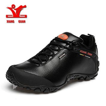 XIANG GUAN Outdoor Waterproof Hiking Shoes Men Women Genuine Leather Climbing Shoes Men Walking Shoes trekking boots 81996