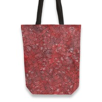 'Red and black swirls doodles' Tote Bags by Savousepate on miPic