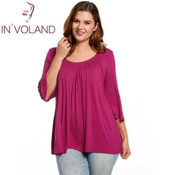 IN'VOLAND Women Blouse Blusa Plus Sizes Casual Round Neck 3/4 Flare Sleeve Draped Pleated Solid Feminino Blouse Top Oversize 4XL