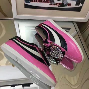 GUCCI Women Trending Fashion Leather Casual Sneakers Sports Shoes Pink