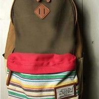 Folk Style Strip Print Canvas Backpack from styleonline
